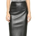 Faux Leather & Jersey Skirt