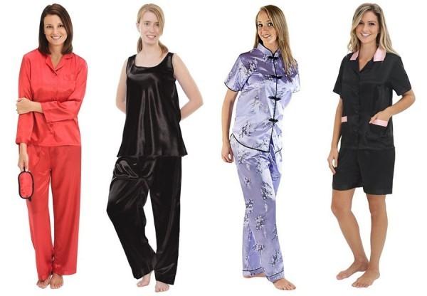satin pajamas for women