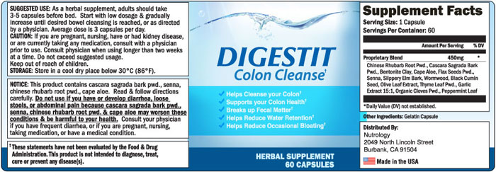 digestit colon cleanse ingredients