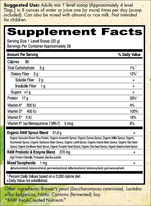 Review Garden Of Life RAW Protein Organic 622g Powder