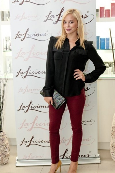 Amy Paffrath in Triarchy Oxblood HighWaisted Skinny Jeans