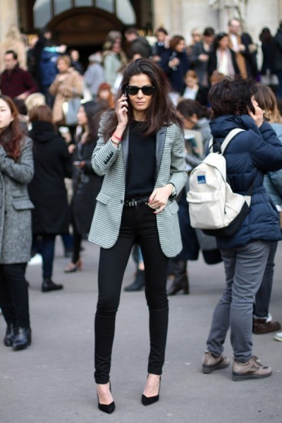 Barbara Martelo in Saint Laurent High-Waisted Skinny Jean in Black