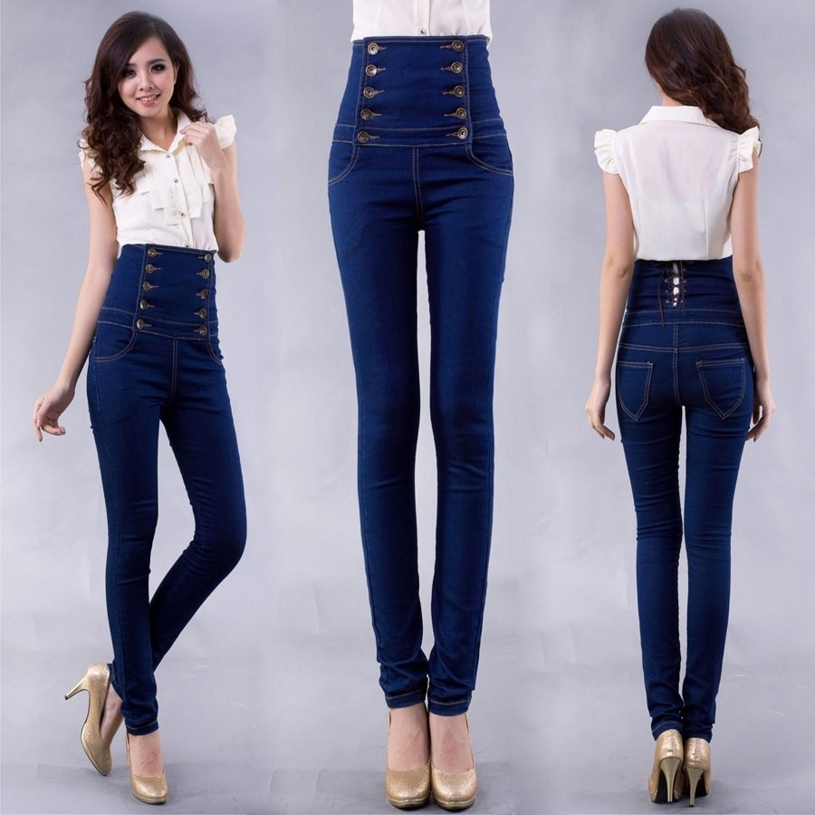 Women And High Waisted Skinny Jeans (Outfit Ideas)